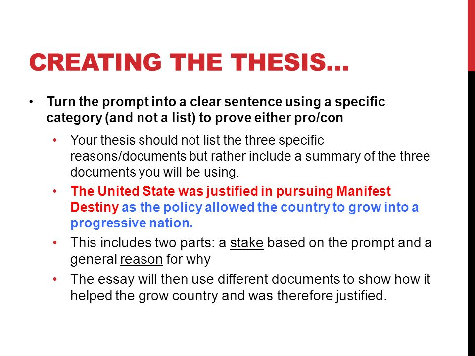 creating a thesis for a dbq The pedagogy stays the same whether teaching a longer dbq or a mini-q, thus creating a clear vertically-aligned progression primary and secondary sources students use documents just like historians to answer questions.