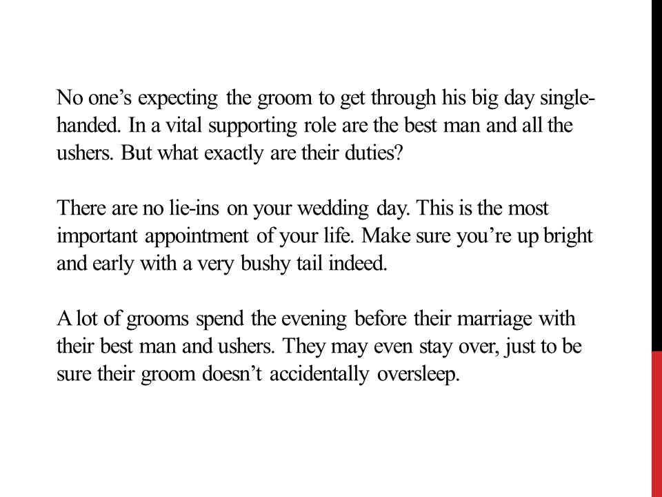 best man and usher duties the groom s right hand men ppt download