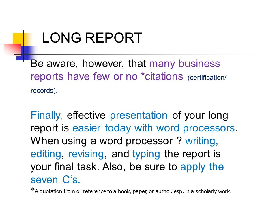 components of long report