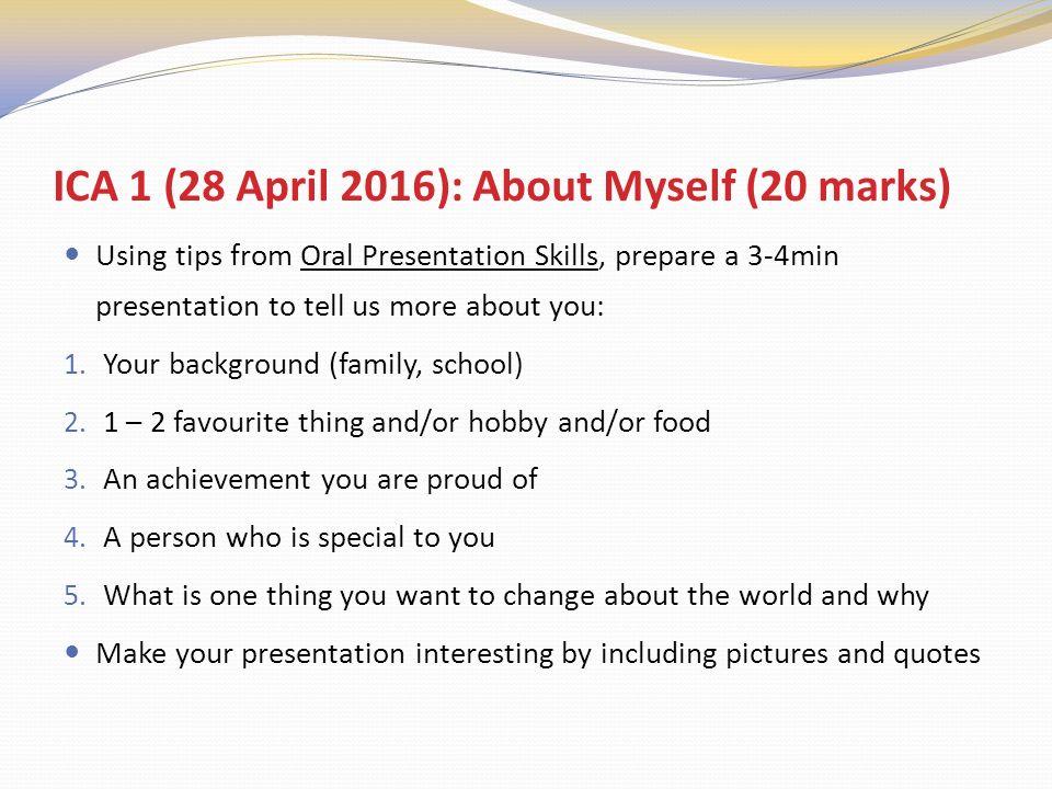 oral presentation about myself