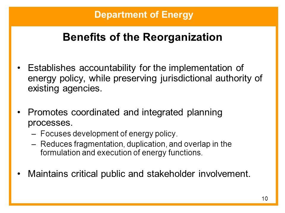 Department of Energy Energy Agency Reorganization Plan
