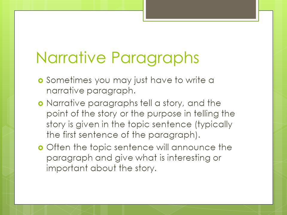 narrative essay with a point