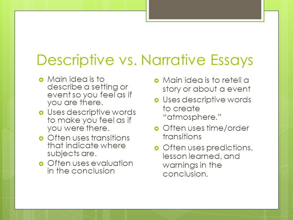 Essay On English Teacher  Descriptive Vs Narrative  Essay Papers Online also From Thesis To Essay Writing Narrative Essays Storytelling With A Point What Does Narrative  English As A Second Language Essay