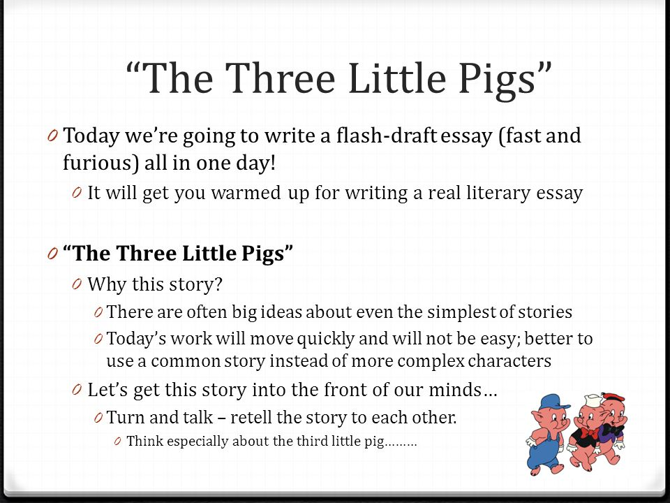 Essay Boot Camp Unit   Argumentative Writing Literary Essays  The Three Little Pigs  Today Were Going To Write A Flashdraft