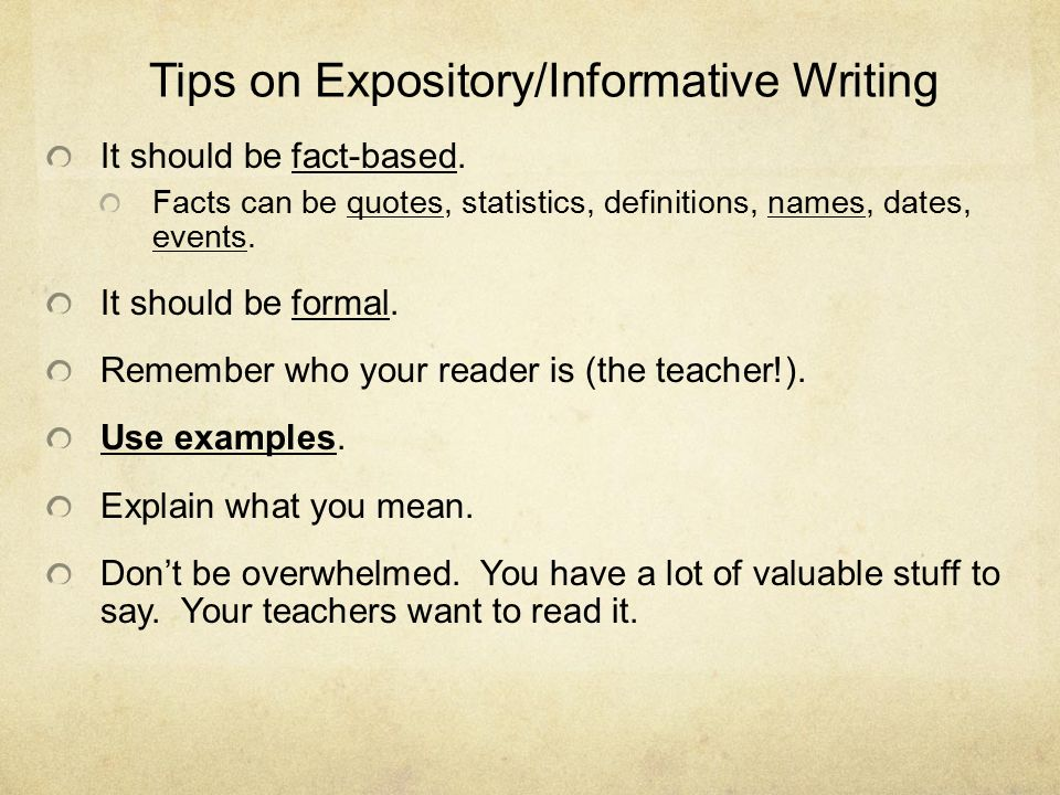 Informative Writing Informative  Expository An Informative Essay   Tips On Expositoryinformative  Studying Online also Help With Home Work  Business Essays Samples