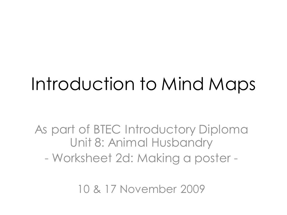 Introduction To Mind Maps As Part Of Btec Introductory Diploma Unit