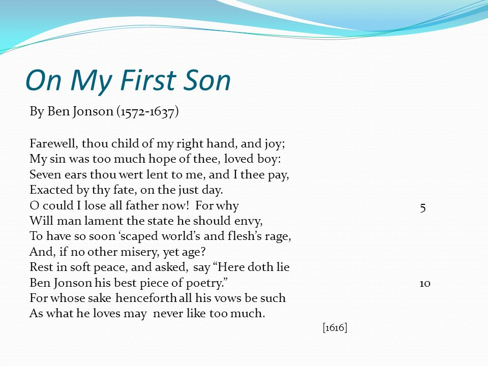 on my first son poem