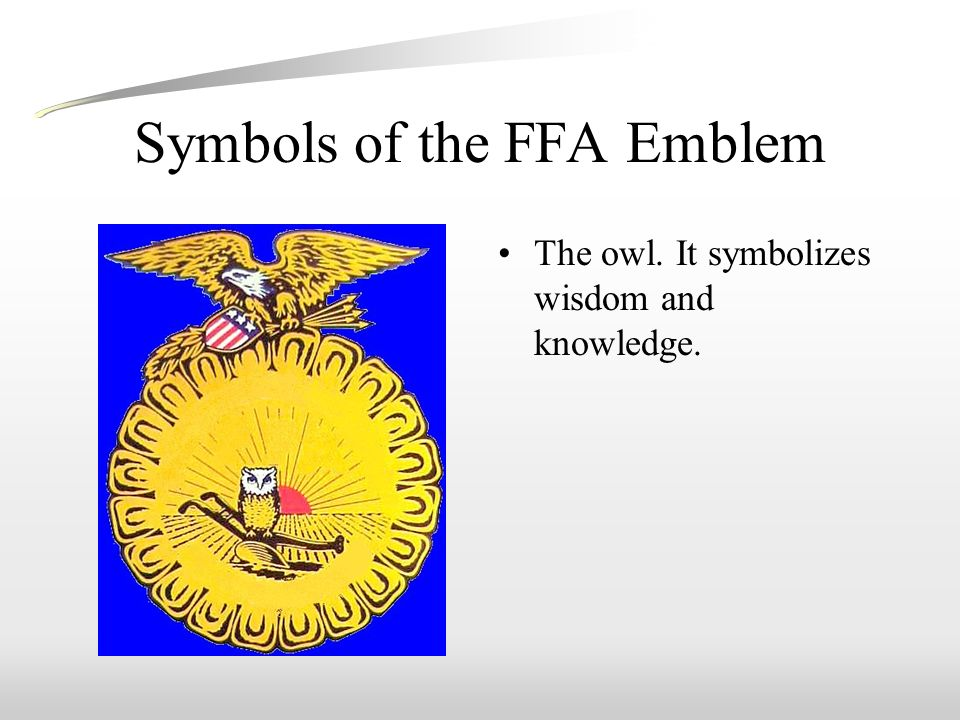 Symbols of the FFA Emblem The owl. It symbolizes wisdom and knowledge.