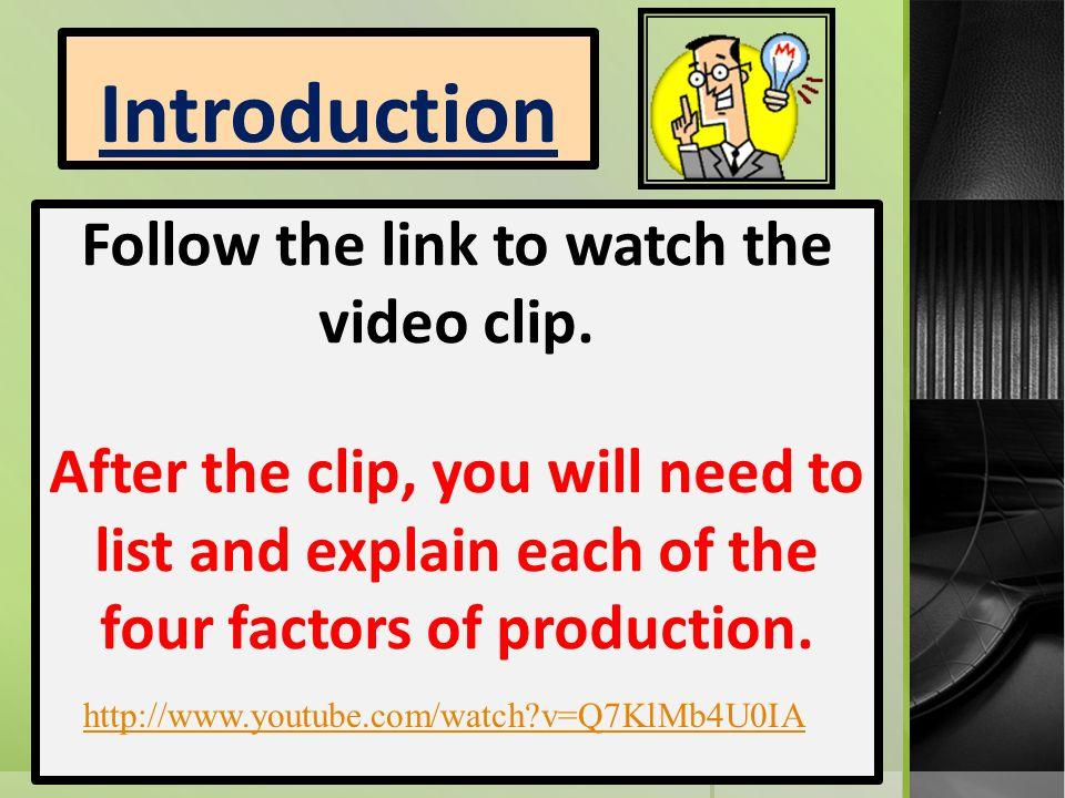 explain 4 factors of production