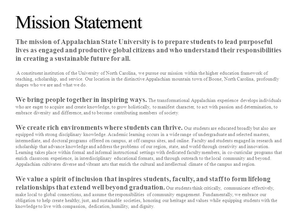 appalachian state application essay Graduate admissions for those holding master's degrees, unemployment rates are 12% lower and earnings are 16% higher, according to the bureau of labor statisticsmaster's degrees matter in the workplace, and at appalachian, too.