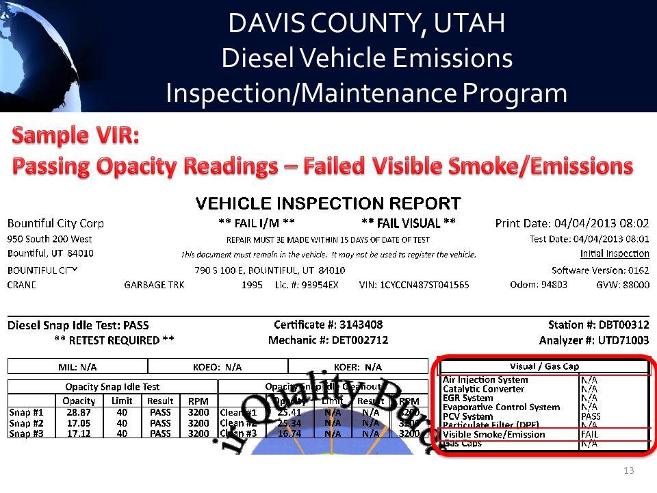 Emissions Test Utah >> Davis County Utah Diesel Vehicle Emissions Inspection Maintenance