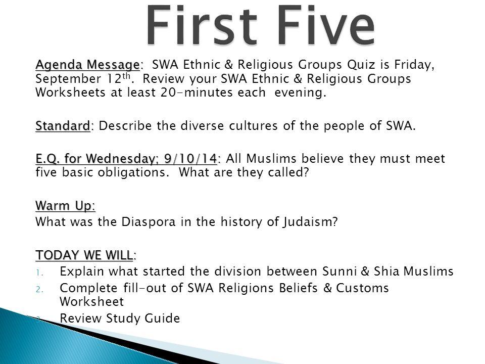 FSMS 7 th Grade Social Studies; Unit 2 Culture (Religions; Islam ...