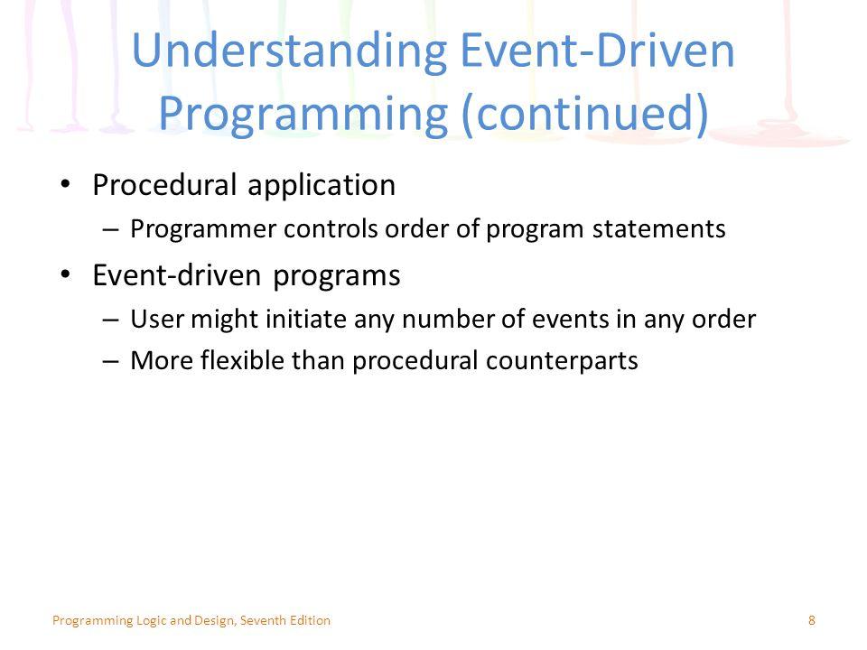 programming logic and design seventh edition chapter 12 event driven