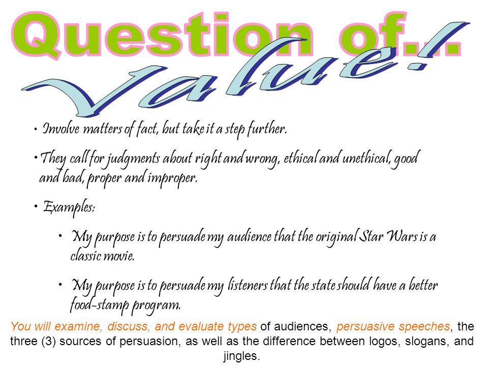 persuasive speech question of fact examples