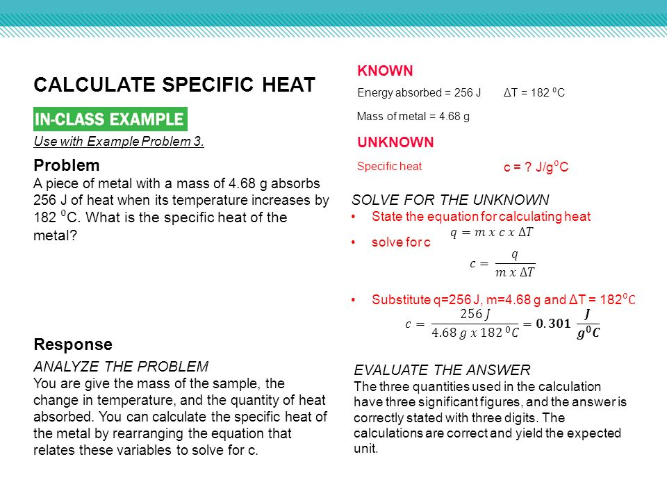 how to calculate specific heat capacity of a metal