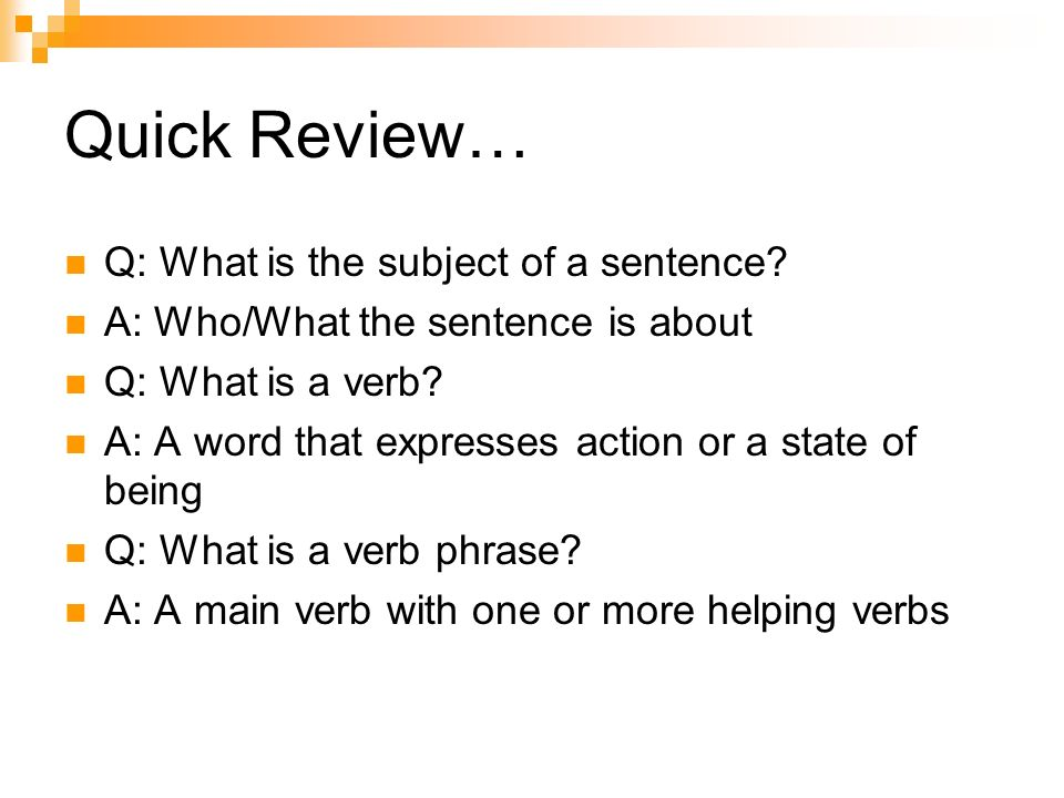 Subject Verb Agreement English 8 Quick Review Q What Is The