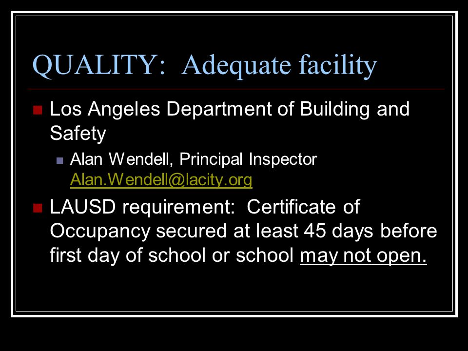 Opening A Quality Charter School In The Los Angeles Unified School