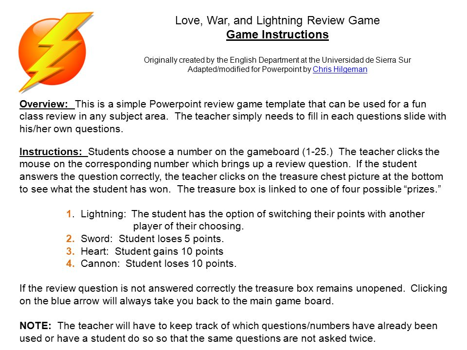 Love War And Lightning Review Game Game Instructions Originally