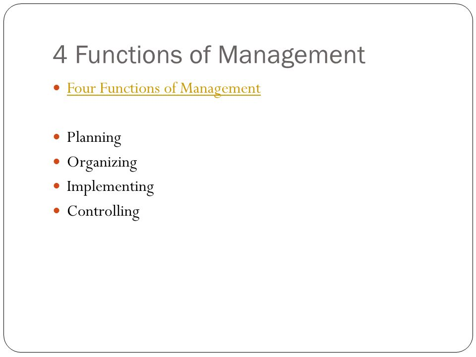 define four functions of management