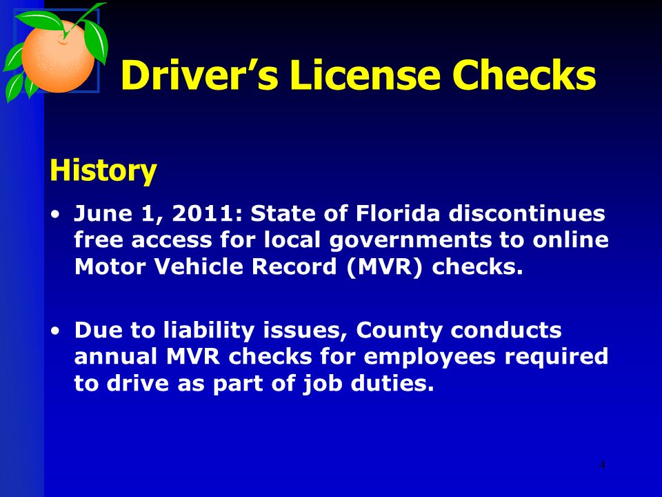 Employee Driver's License History Checks Board of County