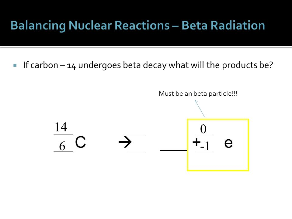 Carbon dating beta decay equation