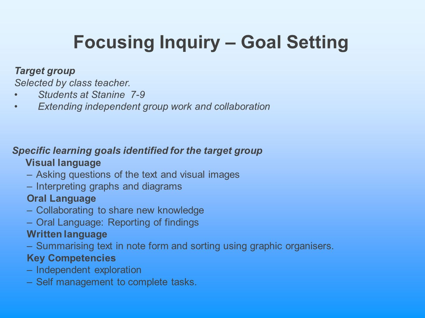 the target group visual language –asking questions of the text and  visual images –interpreting graphs and diagrams oral language  –collaborating to share