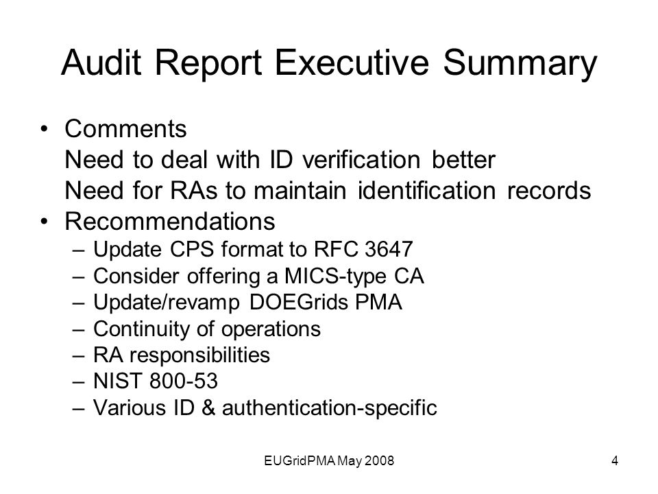 DOEGrids Audit Report Michael Helm 1 Networking for the