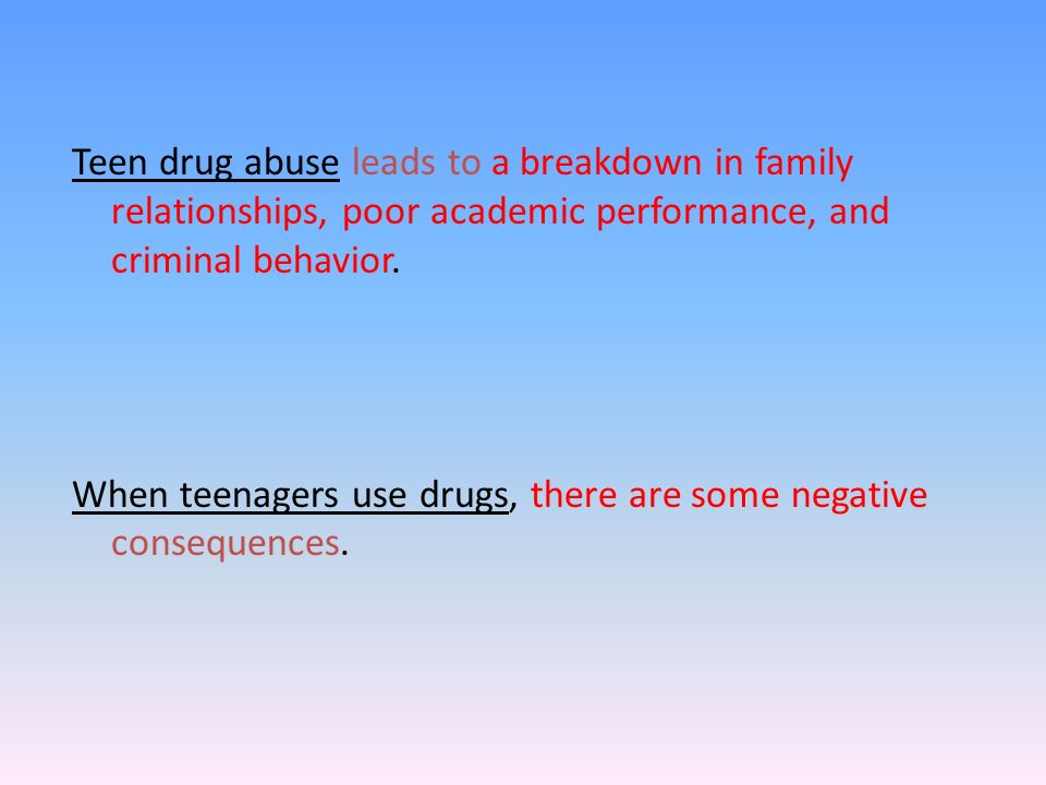 teenagers drug abuse essay Drug abuse, also called substance abuse or chemical abuse is a disorder that is characterized by a destructive pattern of using substance that leads to significant problems or distress teens are increasingly engaging in prescription drug abuse.