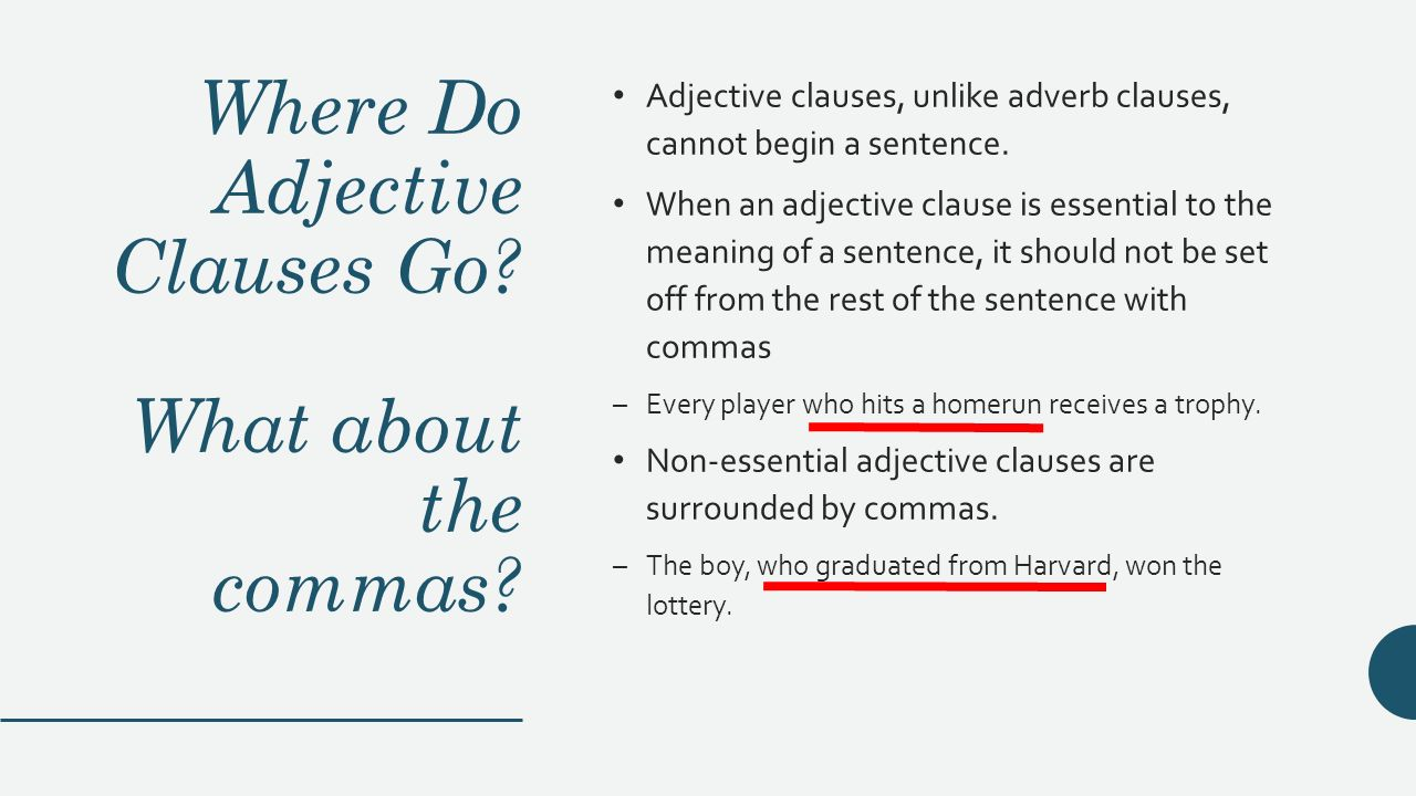 adjective clause comma