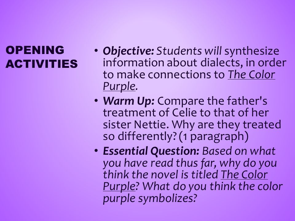 The Color Purple By Alice Walker English 12 Novel Study Week Ppt