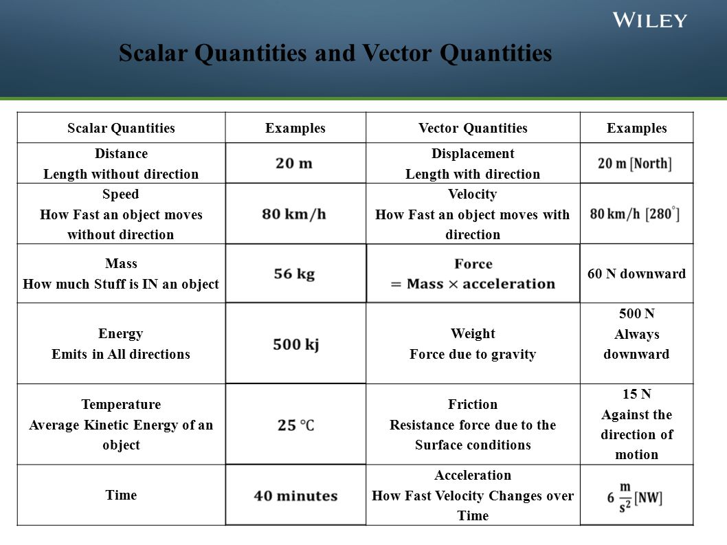 scalar and vectors What are examples of scalars and vectors examples of scalar measurements in physics include time, temperature, speed and mass, whereas examples of vectors consist of.