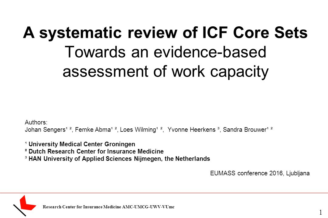 Research Center For Insurance Medicine Amc Umcg Uwv Vumc A Systematic Review Of Icf Core Sets Towards An Evidence Based Assessment Of Work Capacity Authors Ppt Download Invited to take part in an online assessment? slideplayer