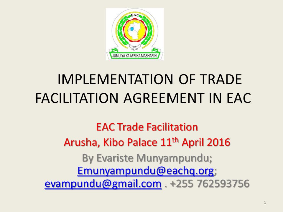 Implementation Of Trade Facilitation Agreement In Eac Eac Trade