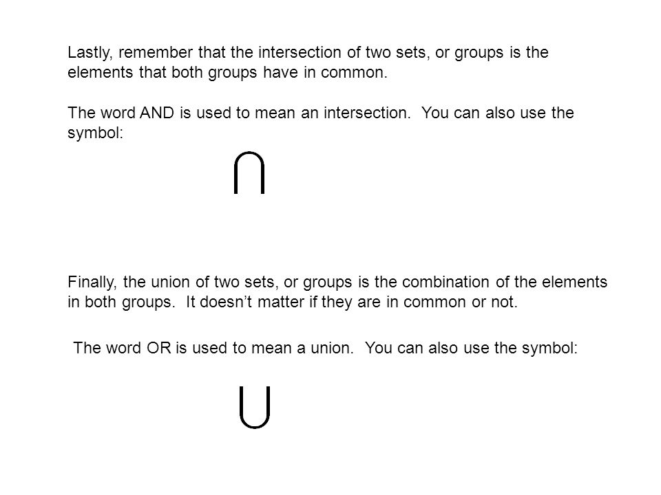 Symbols For Union And Intersection Image Collections Meaning Of