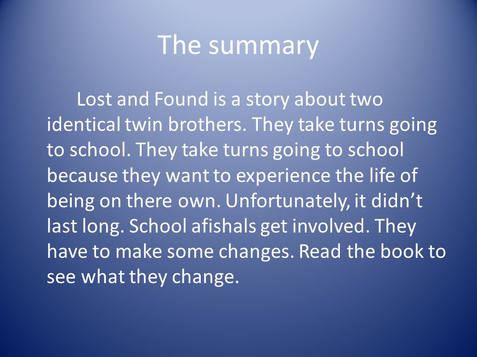 Book report on lost and found by andrew clements sample of science project research paper