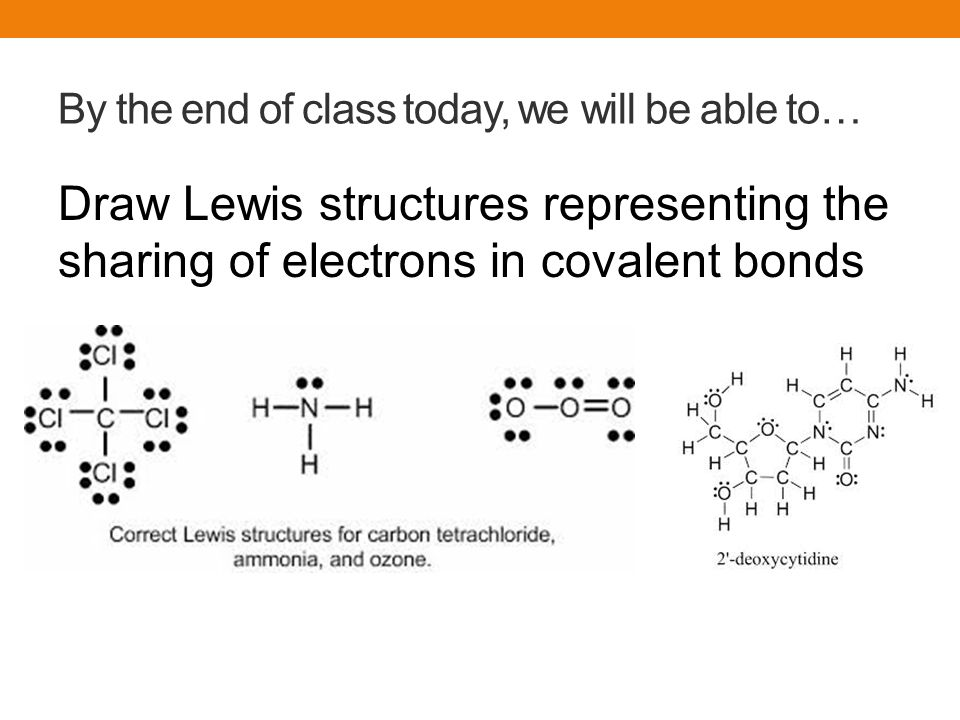 2 by the end of class today, we will be able to… draw lewis structures  representing the sharing of electrons in covalent bonds