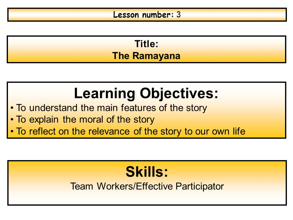 Title: The Ramayana Learning Objectives: To understand the
