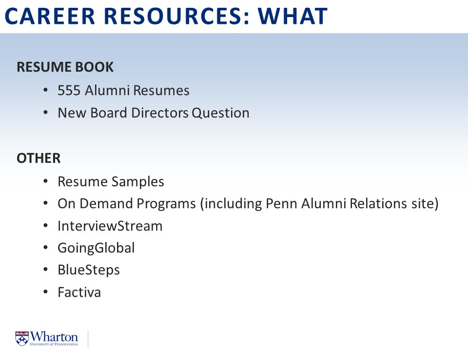 5 CAREER RESOURCES WHAT RESUME BOOK 555 Alumni Resumes New Board Directors Question OTHER Resume Samples On Demand Programs Including Penn
