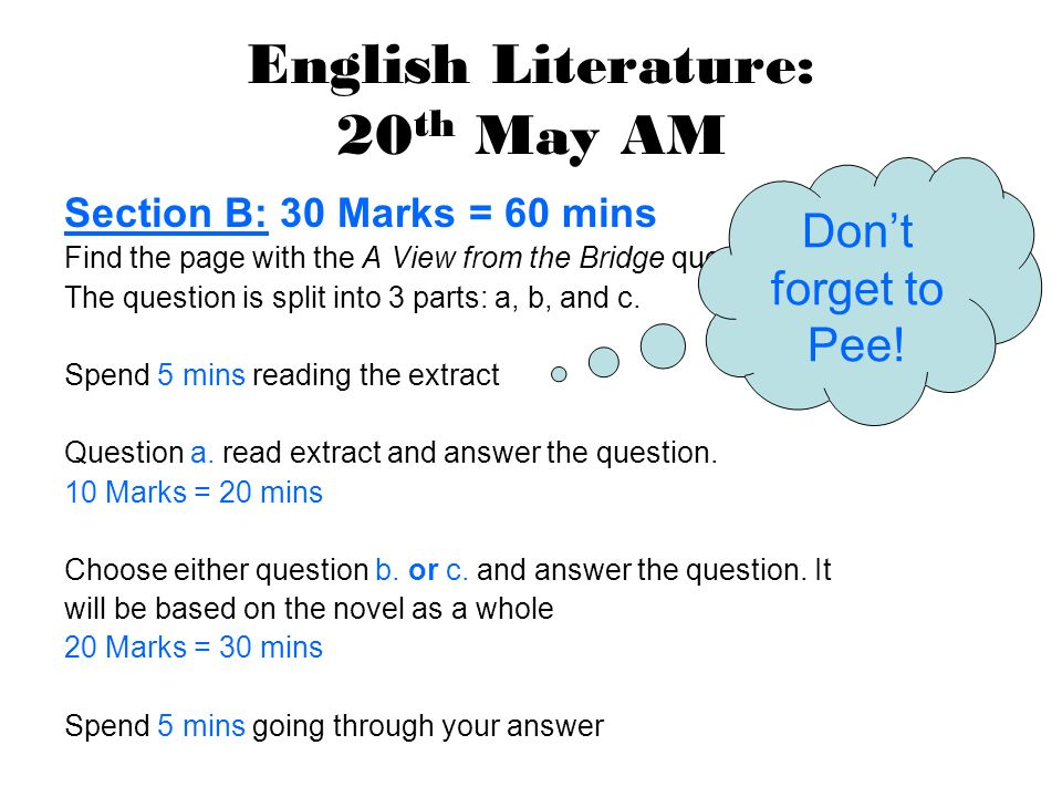 Exam Timetable  English Literature: 20 th May AM Section A: 30 Marks