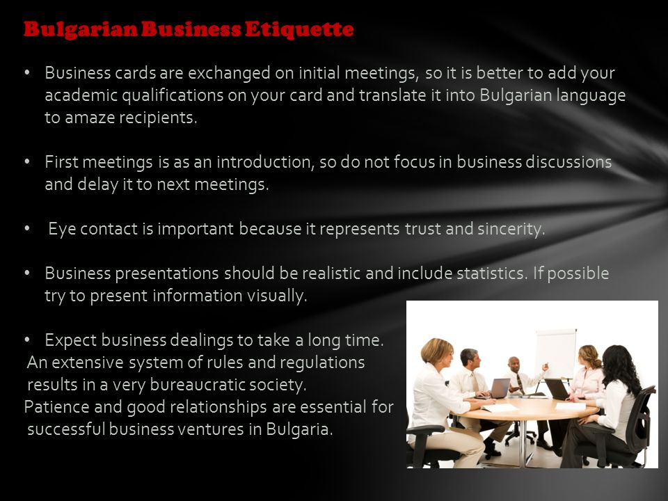 Bulgaria culture and etiquette intisar eidha al tamimi bus 207 bulgarian business etiquette business cards are exchanged on initial meetings so it is better to reheart Gallery