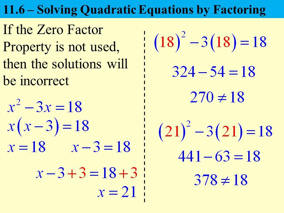 Factoring To Solve Quadratic Equations Solving Quadratic Equations