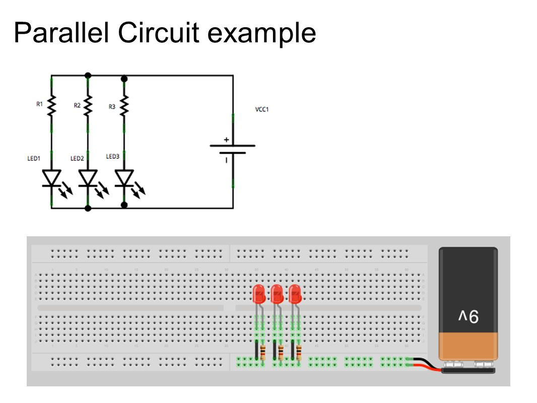 Class Parts List Breadboard 1 Wire Kit Red Leds 3 Green Circuit Diagram To 11 Parallel Example