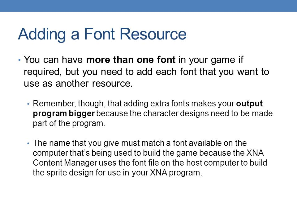 CHAPTER 5 Text XNA Game Studio 4 0  Objectives Discover how text is