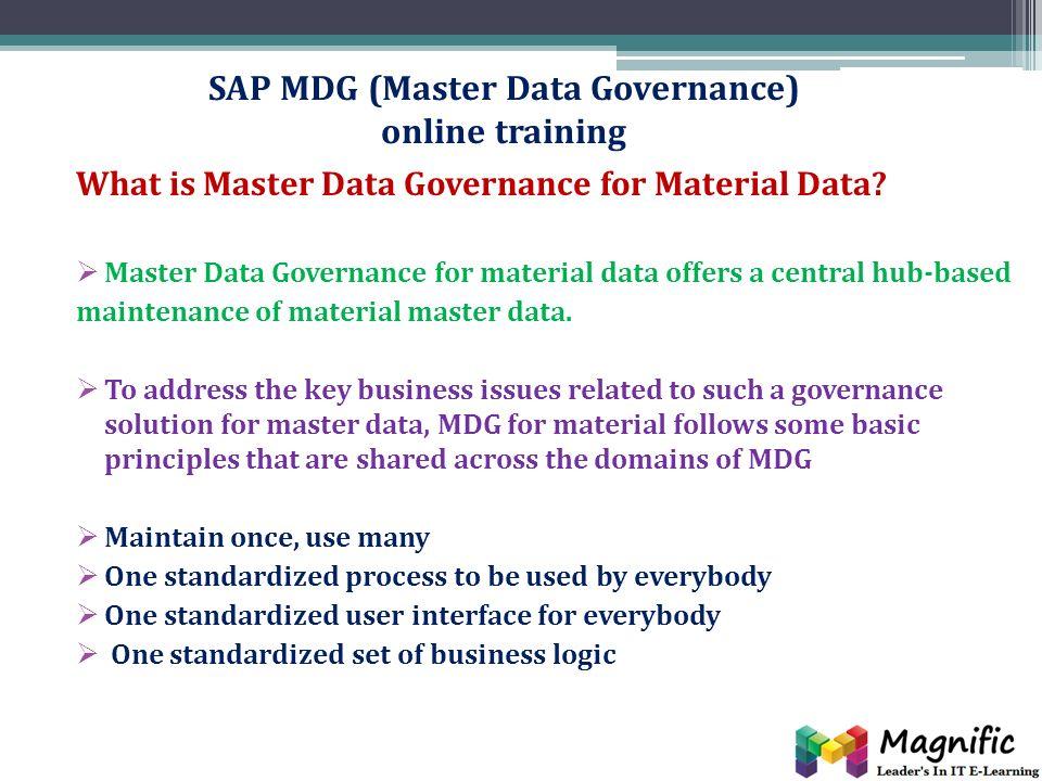 SAP MDG (Master Data Governance) online training Online | classroom