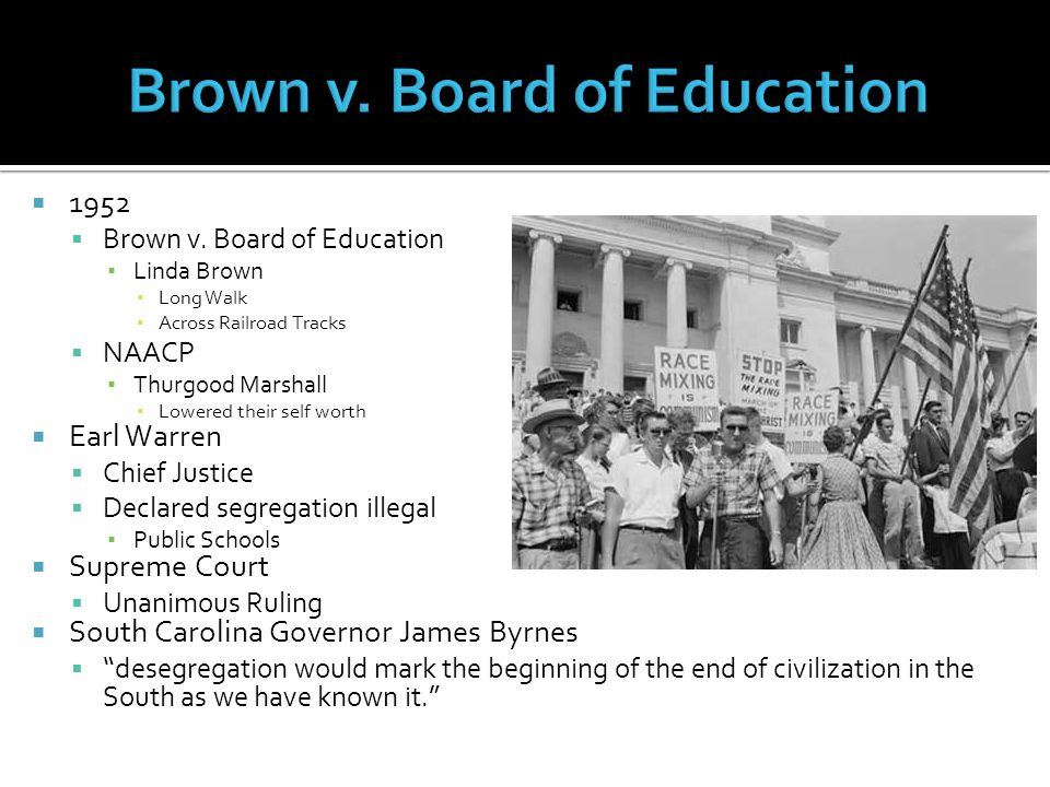 Voices of Dissent   1952  Brown v  Board of Education