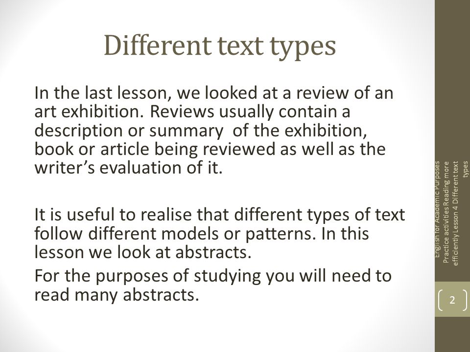 English for EAP Practice activities Reading more efficiently Lesson