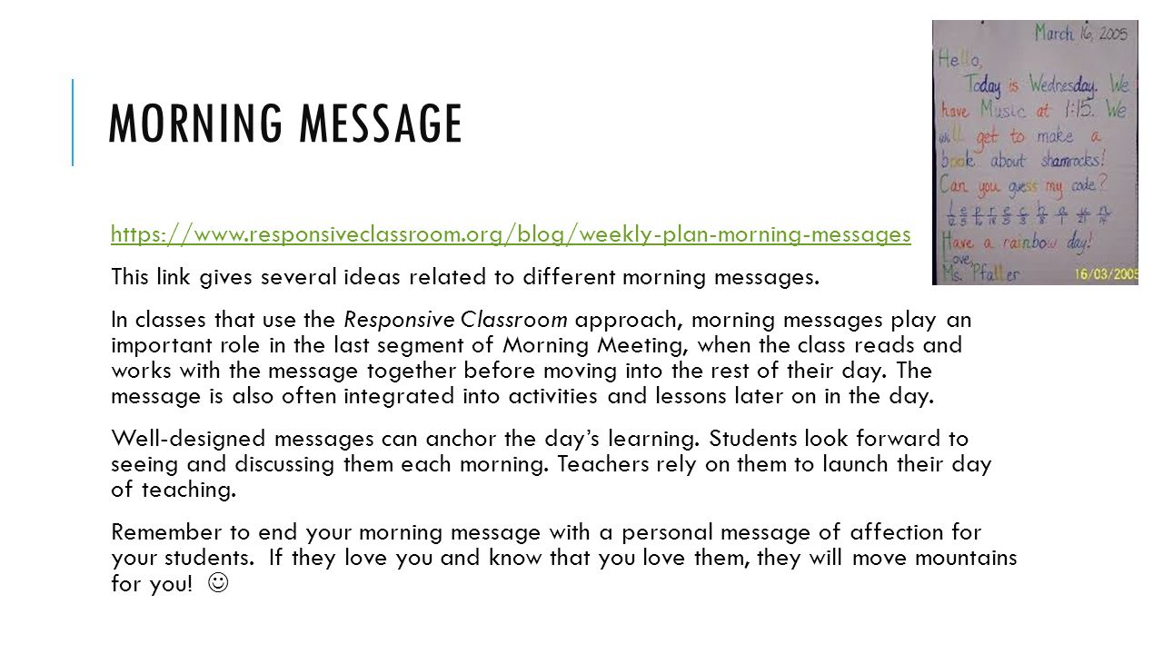 Morning meeting moore public schools why would you do a morning morning message this link gives several ideas related to different morning messages m4hsunfo