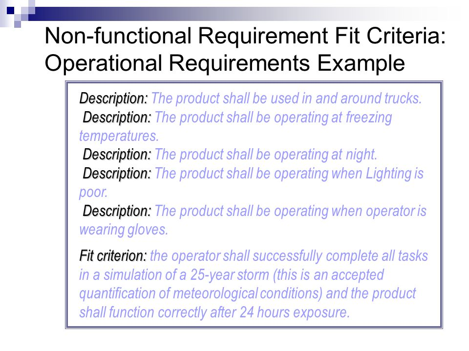 Non Functional Requirement Fit Criteria Operational Requirements Example Description The Product