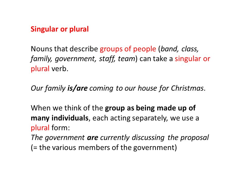 singular or plural nouns that describe groups of people band class family - Plural Of Christmas