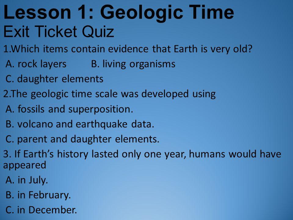 geologic dating quiz